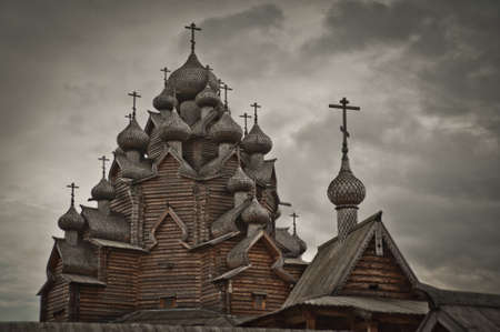 destructed: Wooden Church in Russia.The Bogoslovka. Stock Photo