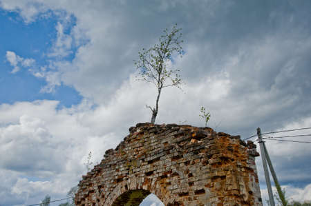 destructed: Brick religious building in the small village, located on restaurant