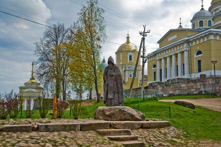 destructed: Brick religious building in the small village located on restaurant.The Town Of Ostashkov. The monastery of the Nilostolobenskaya deserts.