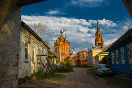 destructed: Brick religious building in the small village, located on restaurant.The Town Of Ostashkov.