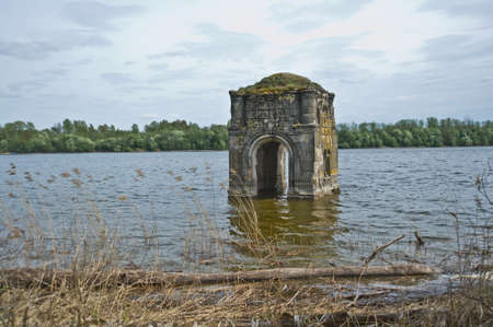 destructed: The flooded bell tower of the Church of the Vladimir icon of the Mother of God, 1795, on the river Vazuza