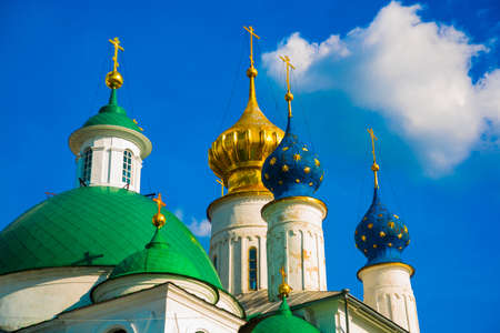 destructed: Beautiful vintage Orthodox religious structures on the background of blue sky.Spring Sun. Stock Photo