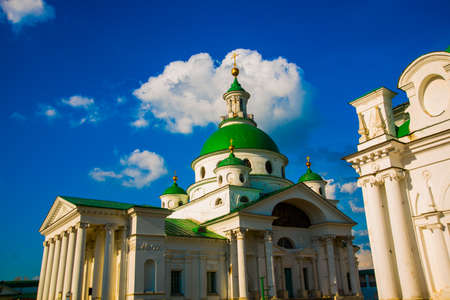 annunciation: Beautiful vintage Orthodox religious structures on the background of blue sky.Spring, Sun. Stock Photo
