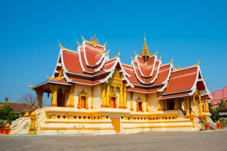 vientiane: Old ancient temple in the capital of Laos, Vientiane