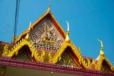 buriram: Ancient Buddhist temples with gold in a small town in Thailand. Nakhon Ratchasima.