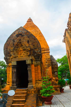 trang: Old brick religious building.Cham towers of po Nagar.Vietnam