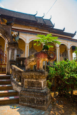 buriram: The small monument to the animal that is near the temple.Siemreap,Cambodia. Stock Photo