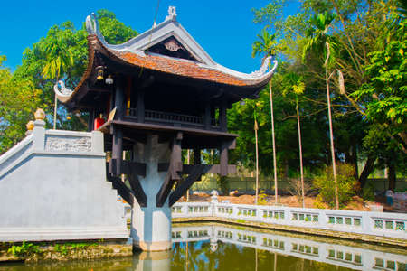 columns: One Pillar pagoda in Hanoi, Vietnam.Beautiful temple on the pole Stock Photo