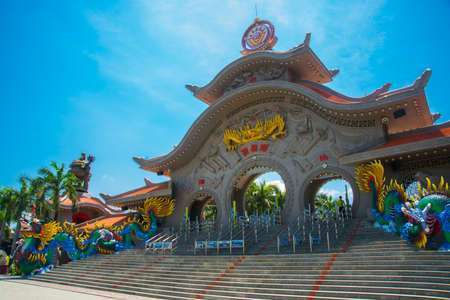 eagerly: HO CHI MINH CITY, VIETNAM, the Suoi Tien park in Saigon.Huge statues and temples Stock Photo