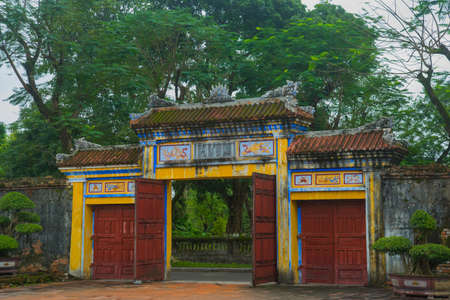 middle east fighting: Gate input.HUE, VIETNAM.The Imperial City, Established as the capital of unified Vietnam in 1802 CE, its also the cultural and religious centre under the Nguyen Dynasty on Oct 20, 2014,old fortress Stock Photo