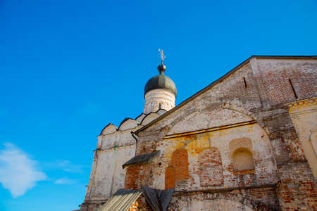 destructed: Beautiful vintage Orthodox religious structures on the background of blue sky.Spring, Sun. Stock Photo