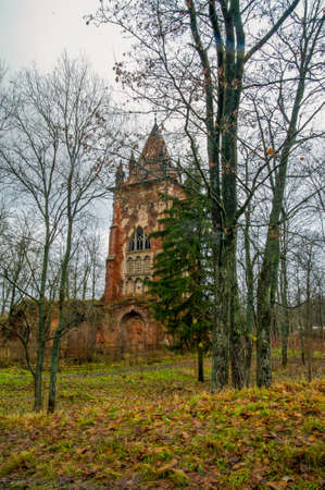 pool halls: Autumn.Russia,the town of Pushkin, Tsarskoe Selo. Alexander park.Chapelle, an old ruined tower in the Gothic style