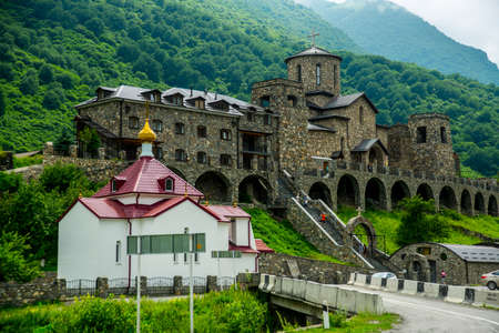 The monastery of stone, an old Church in the mountains. Alan Svyato-Uspensky monastery, which is located in Fiagdon. Mironositskaya Church in Alan assumption monastery.Hidixys.