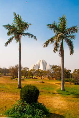 lotus temple: The Lotus Temple, located in New Delhi, India, is a Bahai House of Worship on the background of blue sky, two palm trees.