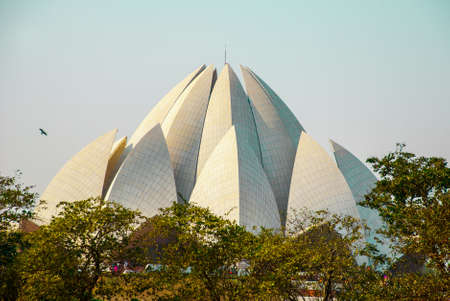 baha: The Lotus Temple, located in New Delhi, India, is a Bahai House of Worship on the background of blue sky