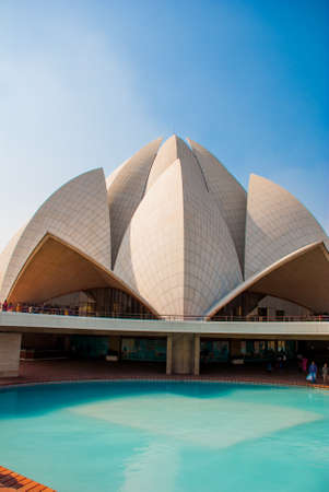 house of worship: The Lotus Temple, located in New Delhi, India, is a Bahai House of Worship on the background of blue sky