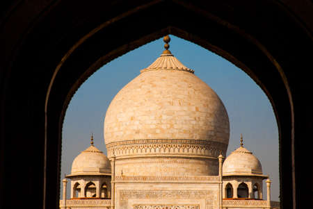 love dome: Taj Mahal on the background of blue sky. Agra, India