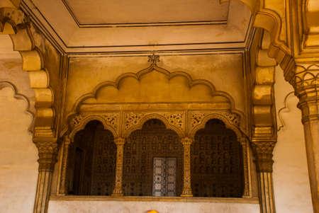 uttar: Tourists at entrance to Agra Fort, Agra, Uttar Pradesh, India Stock Photo