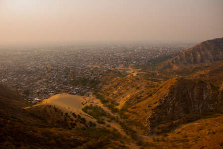 rajput: Nahagarh Fort overlooking the pink city of Jaipur in the Indian state of Rajasthan Stock Photo