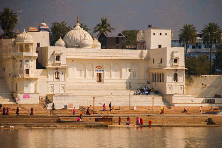 the existing: View of the City of Pushkar, Rajasthan, India. It is one of the oldest existing cities of India.