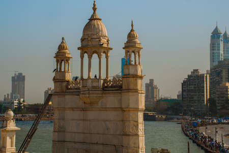 dome of hindu temple: Mosque in middle of the sea in Mumbai. Haji Ali.
