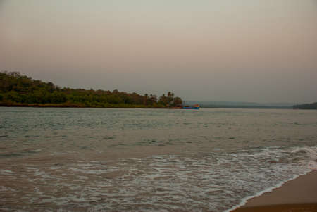 alleppey: Beautiful evening landscape, twilight of the sea. Goa state, India.