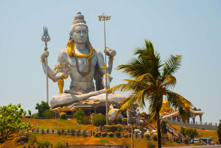 Statue of Lord Shiva was built at Murudeshwar temple on the top of hillock which overlooks the Arabian Sea and it is 37 meters in height. Murudeshwar. Karnataka, India