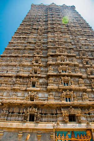 karnataka culture: Beautiful high tower, with a height of 184 meters.Raja Gopuram Tower. Murudeshwar. Karnataka, India Stock Photo