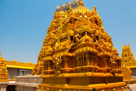 karnataka culture: Old temple with beautiful decoration and gilding. Murudeshwar. Karnataka, India