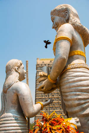karnataka culture: Large statues. Fragment of the architectural ensemble. Statue of Lord Shiva. Murudeshwar. Karnataka, India Stock Photo