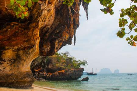 phra nang: Beautiful landscape. The sea and the mountains. Railay Peninsula on whose territory the cave Phra Nang Cave. Krabi, Thailand.