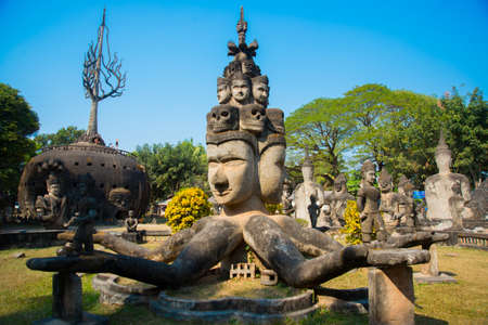 laotian: Huge Park with lots of scary and mystical sculptures in the capital of Laos