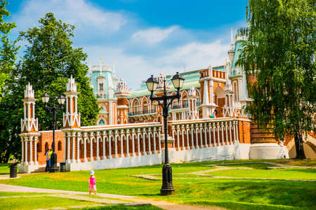 The architecture of the Tsaritsyno Park in Moscow in the summer. Russia. A popular tourist attraction.