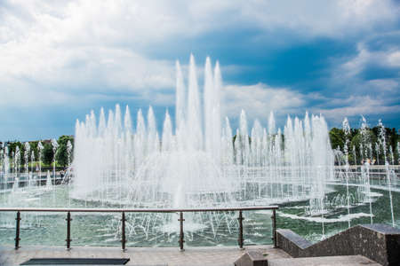 Tsaritsyno Park, summer, day. Large fountain. Moscow, Russia. A large fountain, a complex of fountains, a great place to relax Stock Photo