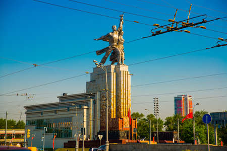 Monument Worker and Collective Farm woman in Moscow on blue sky background. Russia.