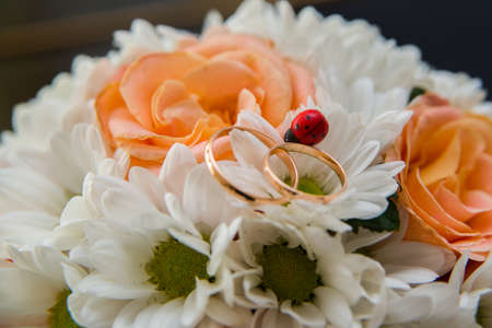 wedding bouquet: Two beautiful wedding rings lie on a wedding bouquet of orange roses and white colors. Ladybug.