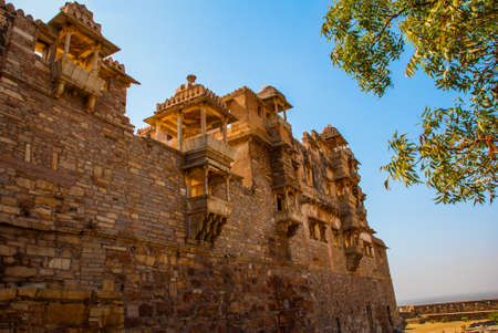 forlorn: Chittorgarh Fort, Rajasthan, India. Chittorgarh Fort, the largest fort in India. Hindu Temple in the fort.