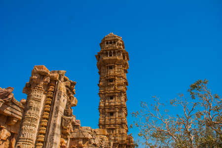 Chittorgarh Fort, Rajasthan, India. Chittorgarh Fort, the largest fort in India. Hindu Temple in the fort.
