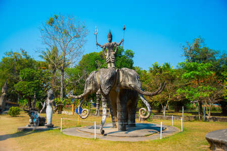 spiritual architecture: Landscape view ancient statues and sculptures of hindu and buddhism gods in Buddha Park, Vientiane, Laos