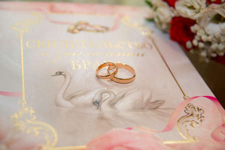 Two beautiful gold wedding rings lie on the background of the certificate of marriage with a pattern of swans and rings. Stock Photo