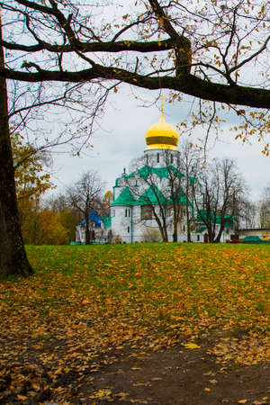 Pushkin, Saint-Petersburg, Russia. The Orthodox Church Feodorovsky sovereigns Cathedral in Tsarskoye Selo.A beautiful autumn landscape. Stock Photo