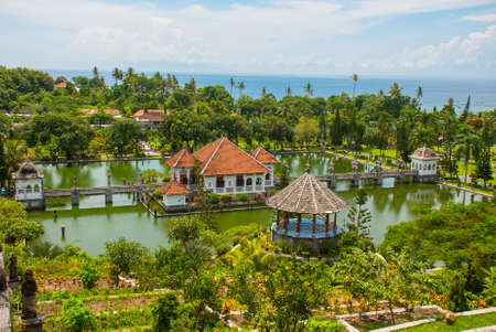 Architectural wonders at the Karangasem water temple in Bali, Indonesia. Beautiful Palace located on the third pond.