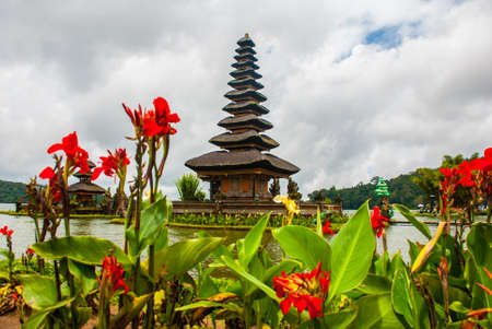 Pura Ulun Danu Batur is a temple in Bali situated on lake Beratan high up in a crater of an extinct volcano in Bali, Indonesia Stock Photo