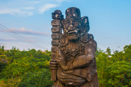 roberts: Pabang Pabang beach, where they filmed the movie Eat, pray, love Julia Roberts. Bali, Indonesia.Beautiful beach, view from the bridge with the sculpture of the spirit before sunset. Stock Photo