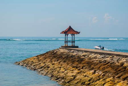 Beautiful gazebo pavilion on the beach Benoa. Bali, Indonesia.Tanjung Benoa. Nusa Dua.