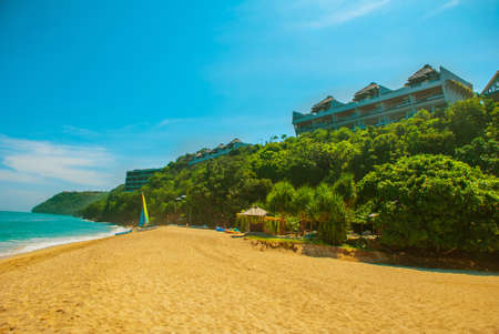 beachfront: Beautiful Tropical beach in Bali. Nusa Dua, Nikko beach in Sunny weather. Indonesia. Stock Photo