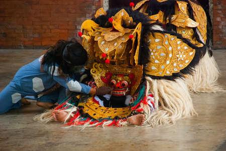 bbalinese Barong traditional dance with Barong. bali indonesia