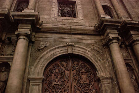 Beautiful Entrance gate Church of St. Augustine in the capital Manila, Philippines