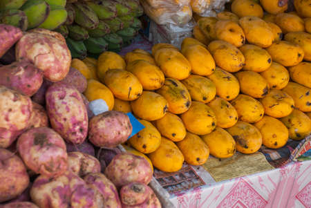 The sale of fruit. The local Market on the street. Manila Philippines Stock Photo