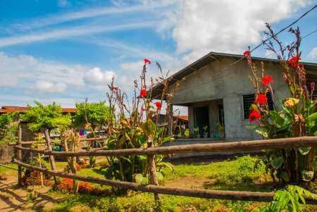 third world: Small house with red flowers in the yard, Philippines.